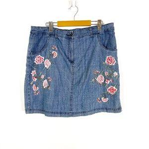 Karen Scott Denim Floral Embroidered Skort
